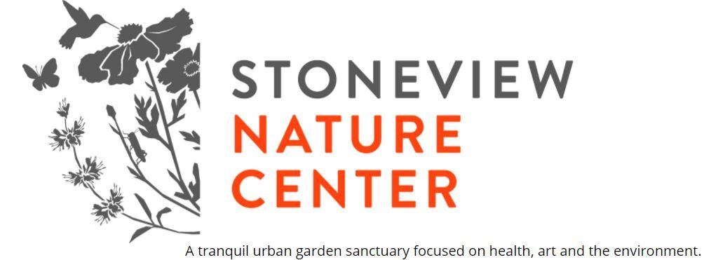 Stoneview Nature Center Logo. Slogan: A tranquil urban garden sanctuary focused on health, art and the environment.